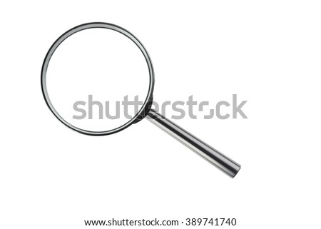 Magnifying glass isolated on a white - stock photo