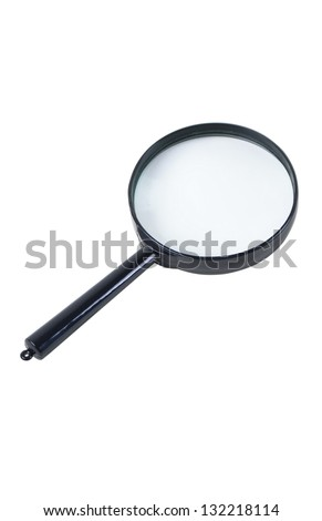magnifying glass, isolated on a white background - stock photo