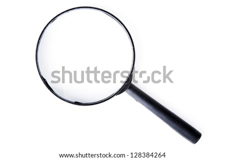 Magnifying glass isolated on white - stock photo