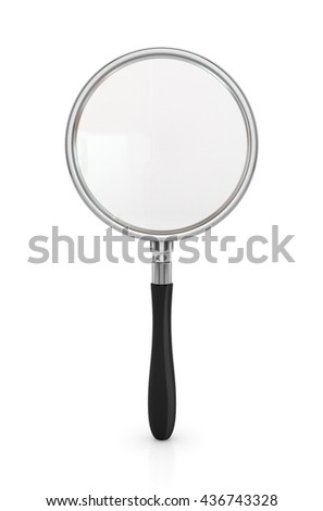Magnifying glass isolated on white background. 3d illustration