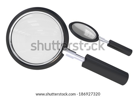 Magnifying Glass Isolated on White Background. 3D Illustration of Magnifying Glass. - stock photo