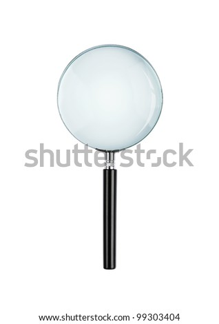 Magnifying glass isolated on white background with clipping path for the glass - stock photo