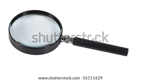 Magnifying glass,isolated on white with clipping path - stock photo