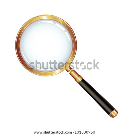 Magnifying glass isolated over white background - stock photo