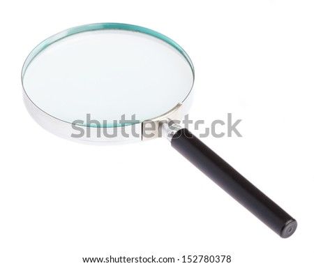 magnifying glass laying on a white background - stock photo