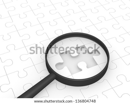Magnifying glass laying on jigsaw puzzle. Computer generated image.
