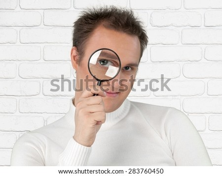 Magnifying Glass, Loupe, Searching.