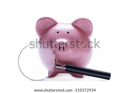 Magnifying glass next to a pink porcelain piggy bank, concept of search and financial savings,with shadow on white - stock photo