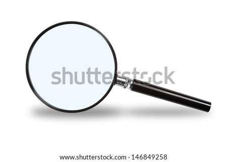 Magnifying glass on a white background. The optics