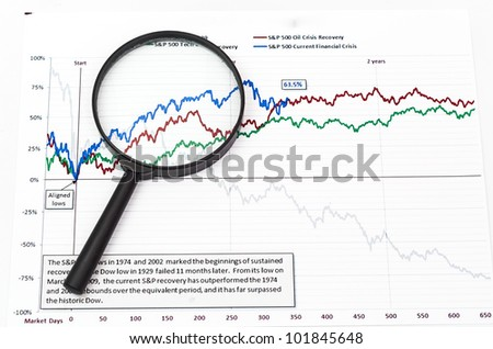 magnifying glass on graph - stock photo