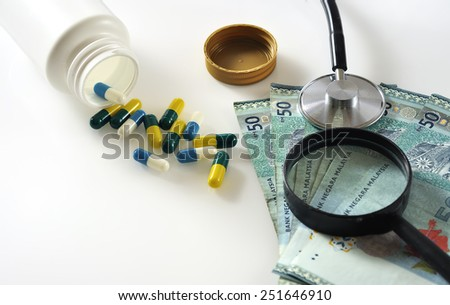 Magnifying Glass On Malaysian Bank Note with Spill Out of Capsule Pill, Stethoscope and Calculator,  Medical Care Cost Concept and Selective Focus