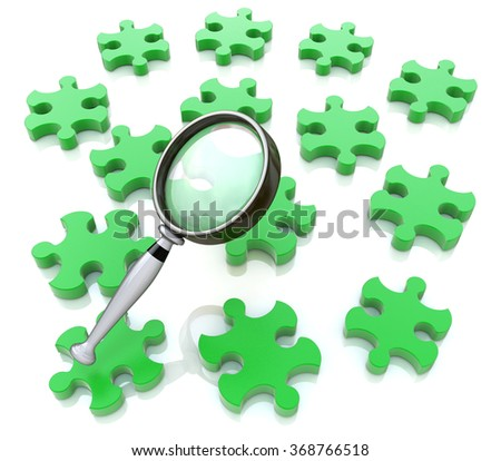 Magnifying glass on the green puzzle in the design of the information related to the search - stock photo