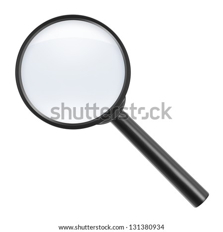 magnifying glass on white background - stock photo