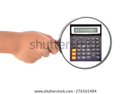 Magnifying glass on white background searching missing calculator with word  on screen  - stock photo