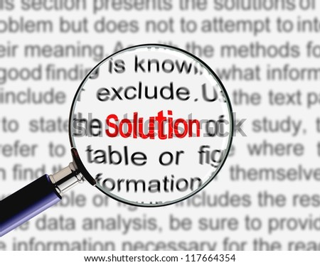 Magnifying glass on word solution