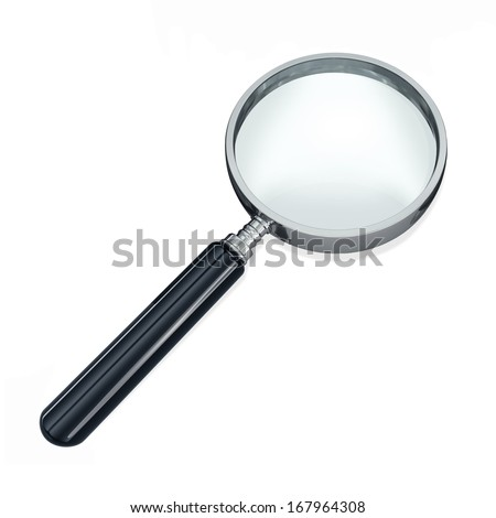 Magnifying glass, or loupe, against a white background. - stock photo