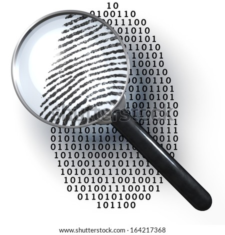 Magnifying glass over finger printlike shape made of binary code, 1 and 0 numbers, showing analog finger print, digital to analog, 3d rendering on 1-0-background - stock photo