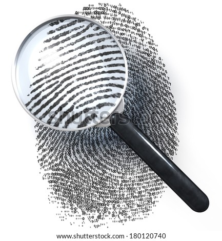 Magnifying glass over fingerprint made of 1/0 grid showing realistic, natural fingerprint, 3d rendering isolated on white background - stock photo