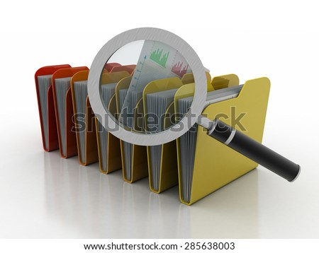 Magnifying glass over the yellow folders. 3d illustration