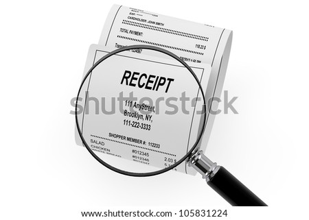Magnifying glass & Receipt on the white background - stock photo