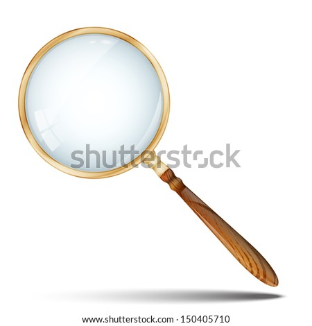 Magnifying Glass, Retro Magnifier With Wooden Handle and Golden Rim Isolated On White Background.  - stock photo