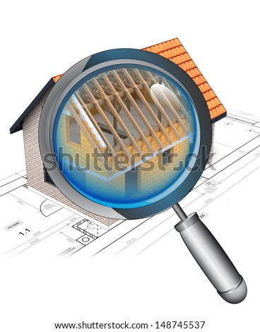 magnifying glass roentgen house construction detail illustration