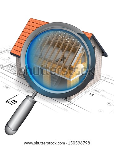 magnifying glass roof construction detail illustration - stock photo