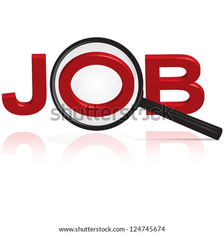 Magnifying glass search for job - stock photo