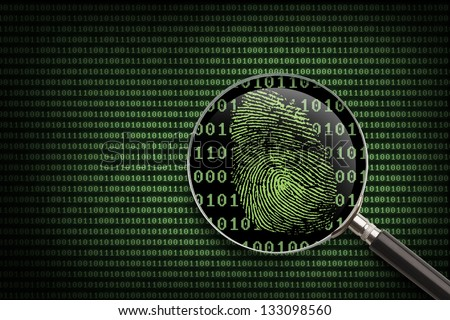 Magnifying Glass searching code for on-line activity. - stock photo