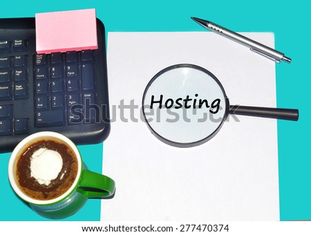 """Magnifying glass searching """"HOSTING"""", Internet concept  - stock photo"""