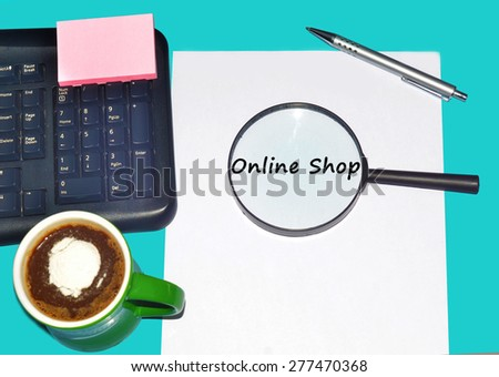 """Magnifying glass searching """"ONLINE SHOP"""", Internet concept  - stock photo"""