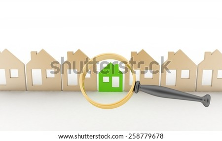 Magnifying glass selects or inspects a eco-home in a row of houses. Concept of search of house for residence, real estate investment, inspection. - stock photo