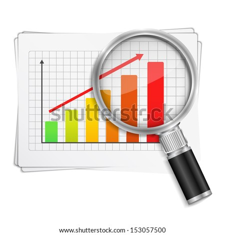 Magnifying glass showing rising bar graph - stock photo