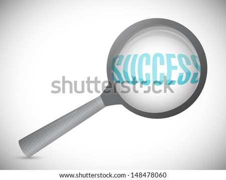 Magnifying glass showing success word on white background
