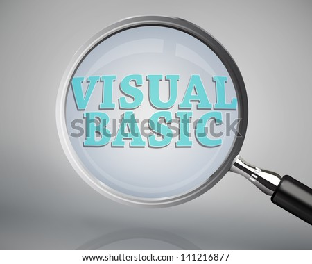 Magnifying glass showing visual basic word on grey background