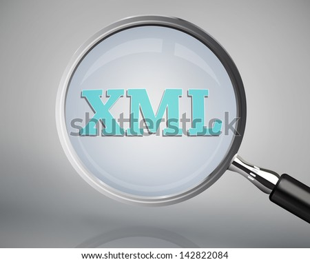 Magnifying glass showing xml word on grey background