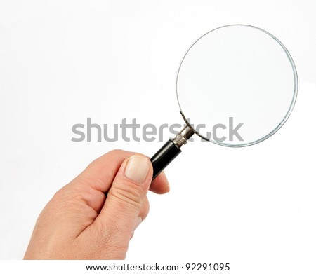 Magnifying glass transparent white background