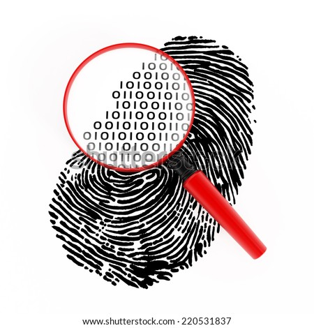 Magnifying glass with binary code on fingerprint