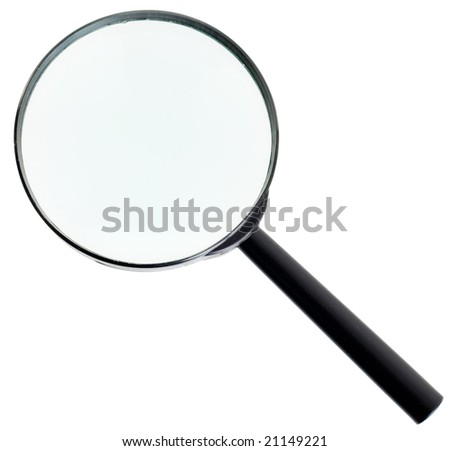Magnifying glass with black handle on the white background