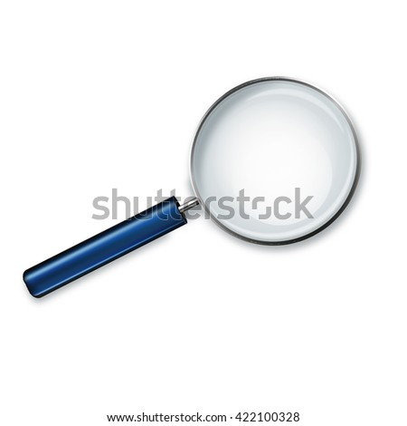 Magnifying glass with blue handle isolated on white background illustration.