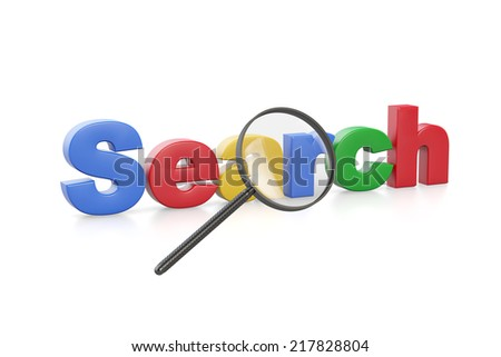 Magnifying glass with colorful english search word - stock photo