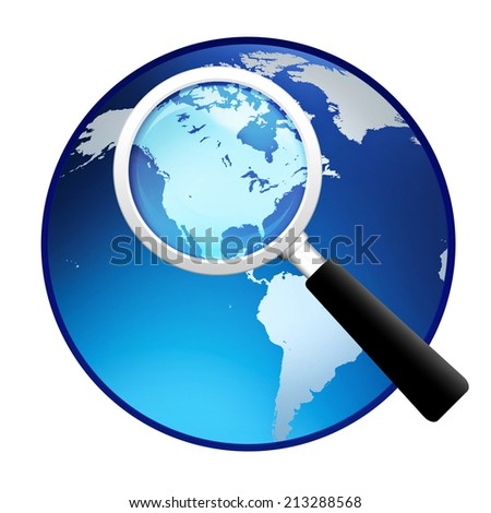 magnifying glass with earth globe on white background - stock photo