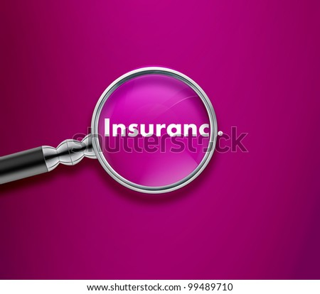 Magnifying glass with Insurance word on Pink background.