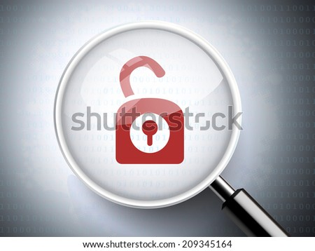magnifying glass with opened padlock icon on digital background - stock photo