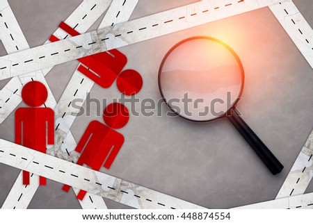 magnifying glass with people shape paper cut on grey background