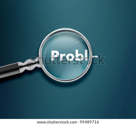 Magnifying glass with Problem word on blue background.