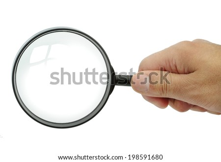 Magnifying glass with reflection on white background. - stock photo