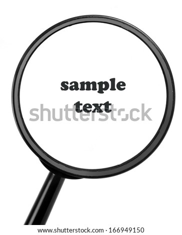 magnifying glass with sample text - stock photo