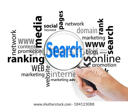 Magnifying glass with search SEO, internet concept