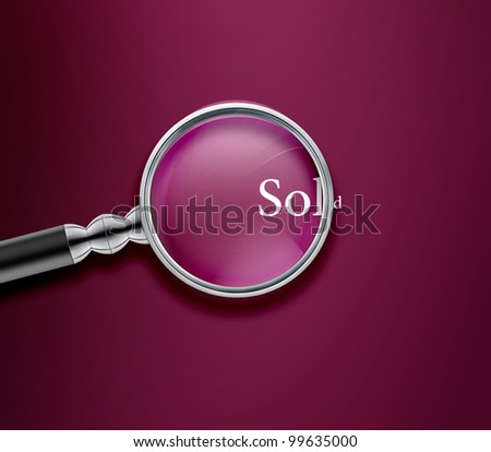 Magnifying glass with Sold word on Vinous background. - stock photo